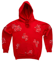 Distressed Red Bandana Lyfestyle Hoodie