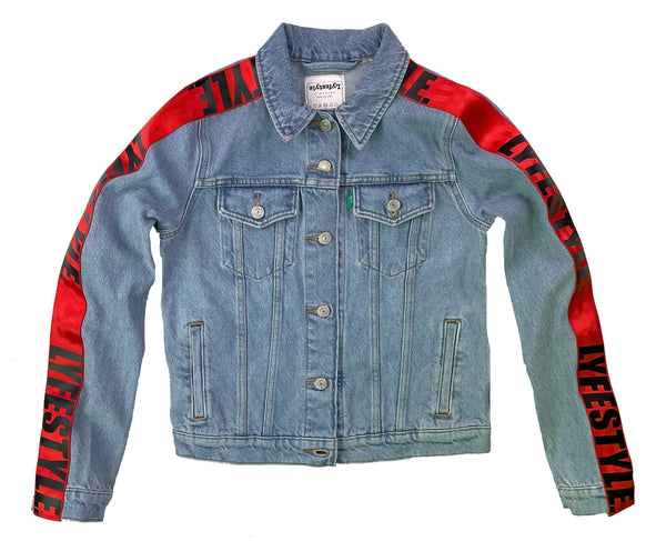 Womens Red Lyfestyle Tape Jean Jacket
