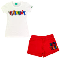 Womens Red Multicolor Lyfestyle Short Set
