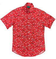 Red Paisley Button-Up Shirt