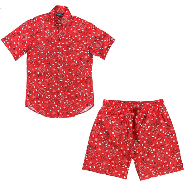 Red Paisley Short Set