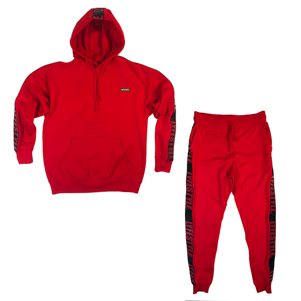 Red & Black Lyfestyle Tape Sweatsuit