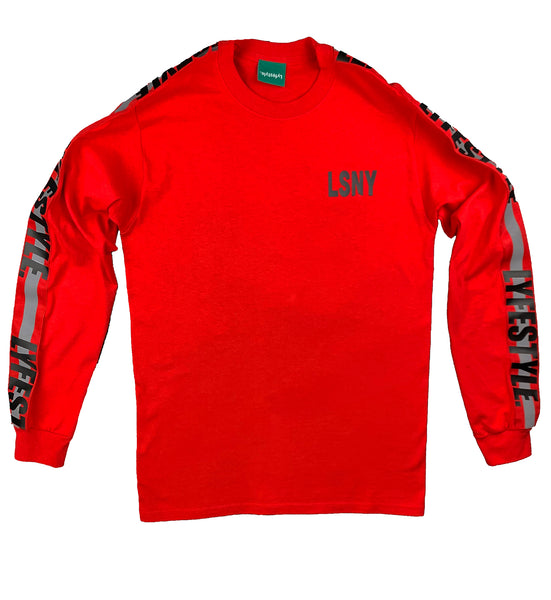 Red w/ Black Lyfestyle Tape Long Sleeve Tee