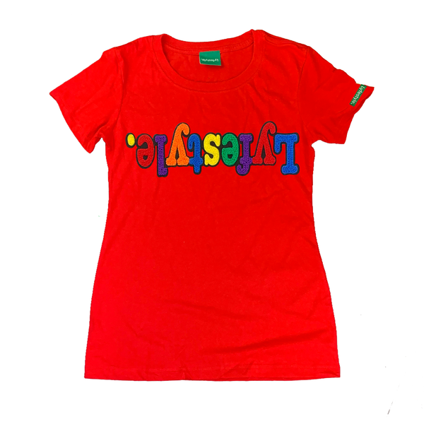 Womens Red Multicolor Lyfestyle Tee