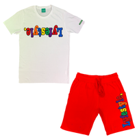 Red Multicolor Lyfestyle Short Set