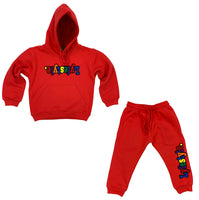 Toddlers Red Multicolor Lyefestyle Sweatsuit