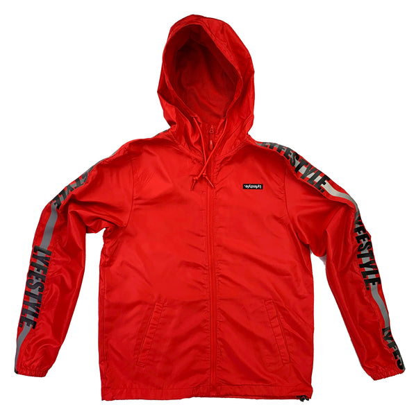 "Red ""Construction Zone"" Windbreaker Jacket"