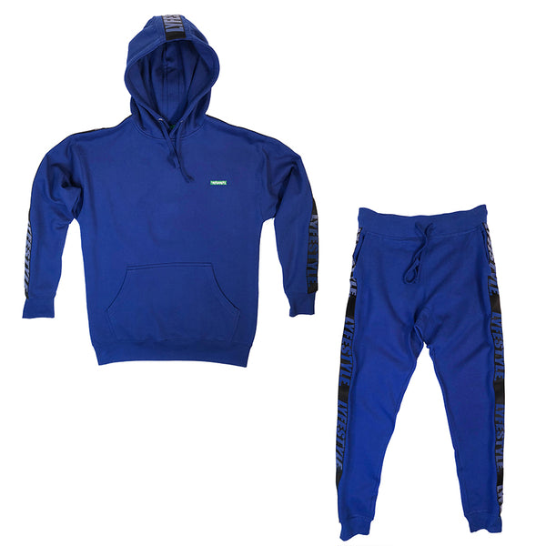 Royal Blue & Black Lyfestyle Tape Sweatsuit