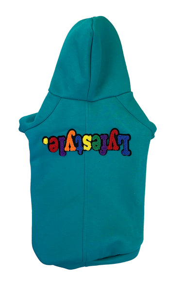 Teal Multicolor Lyfestyle Dog Hoody