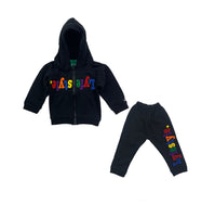 Infants Black Multicolor Lyfestyle Hoody Sweatsuit