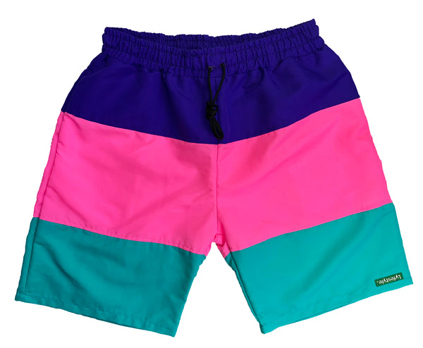 Purple/Pink/Teal Tricolor Shorts
