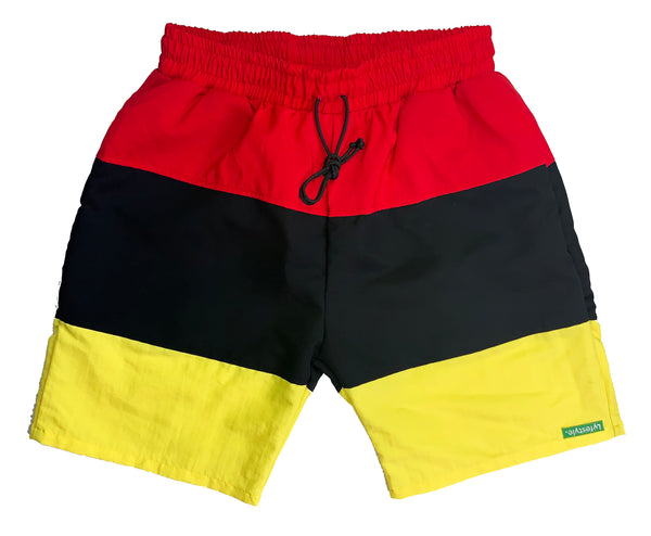 Red/Black/Yellow Tricolor Shorts