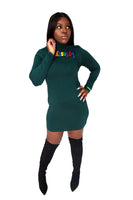 Multicolor Turtleneck Lyfestyle Dresses