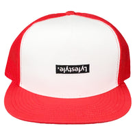 White & Red Lyfestyle Trucker Hat