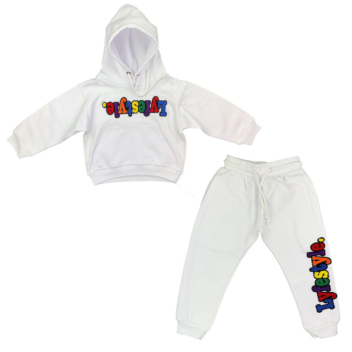 Toddlers White Multicolor Lyfestyle Sweatsuit - Lyfestyle ...