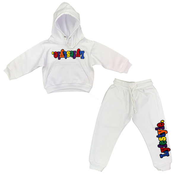Toddlers White Multicolor Lyfestyle Sweatsuit