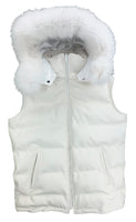 White Leather Lyfestyle Bubble Vest