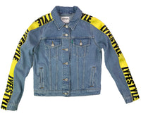 Womens Yellow Lyfestyle Tape Jean Jacket