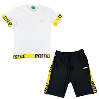Yellow & Black Lyfestyle Tape Short Set