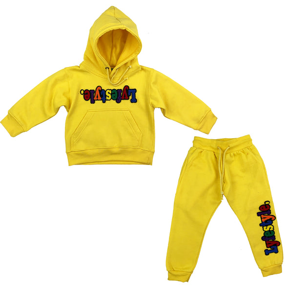 Toddlers Yellow Multicolor Lyefestyle Sweatsuit