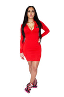 Women's Zipper Mock Neck Lyfestyle Dress