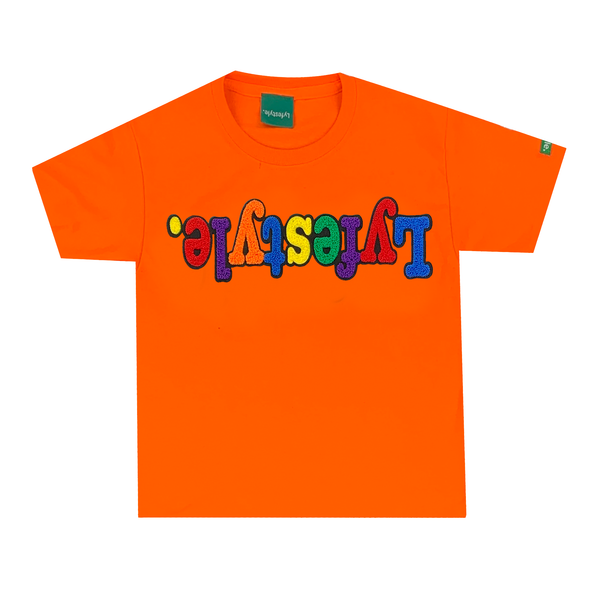Kids Orange Multicolor Lyfestyle Tee