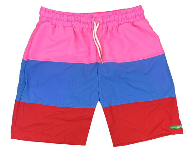 Pink/SkyBlue/Red Tricolor Shorts