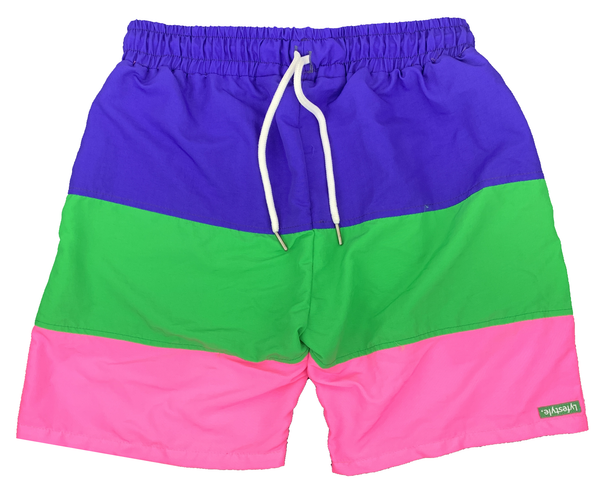 Purple/Green/Pink Tricolor Shorts