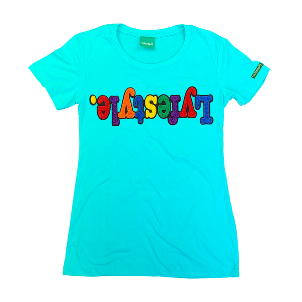 Womens Turquoise Multicolor Lyfestyle Tee