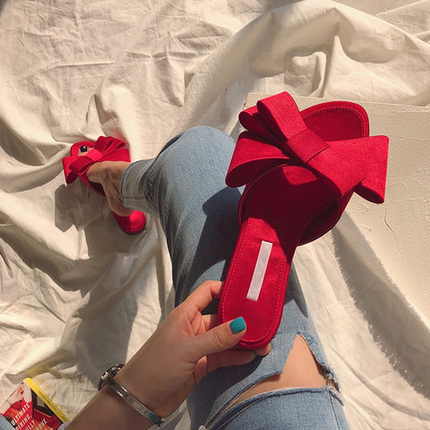 New large bow satin round head sandals women - slipper shoes