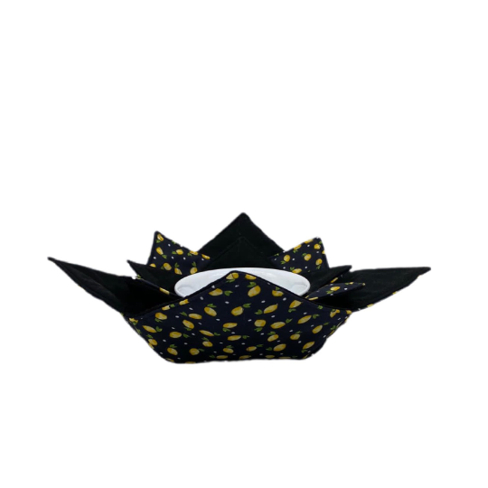 Microwave Bowl Cozy - Lemon Black & Yellow