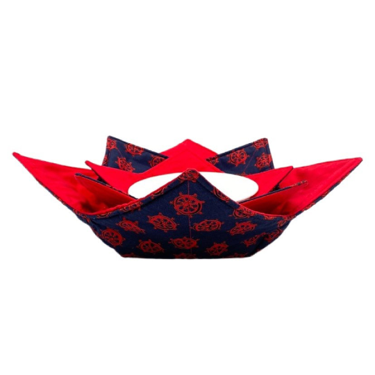 Microwave Bowl Cozy - Ship Rudder, Red