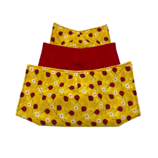 Microwave Bowl Cozy - yellow lady bug