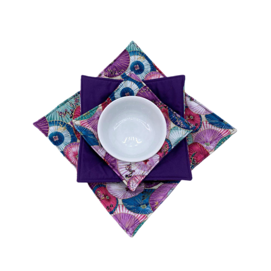 Microwave Bowl Cozy - Asian Print, Purple