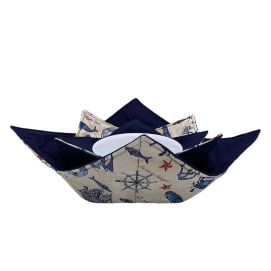 Microwave Bowl Cozy - Crab, lighthouse, sailboat