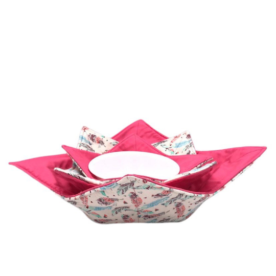 Microwave Bowl Cozy - Feather Printed, Pink