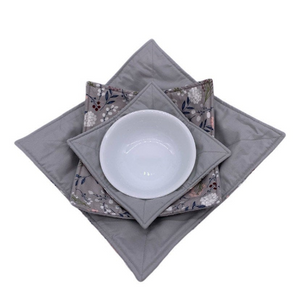 Microwave Bowl Cozy - Flower printed, Grey