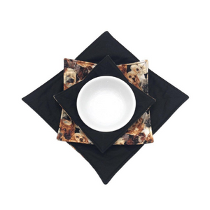 Microwave Bowl Cozy - Dog printed, Black
