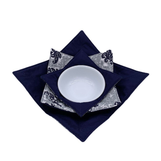 Microwave Bowl Cozy - Navy, grey, white