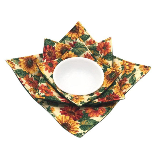 Microwave Bowl Cozy - Sunflower, green