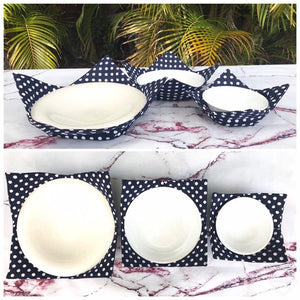 Microwave Bowl Cozy - Dark Blue, White polka dot