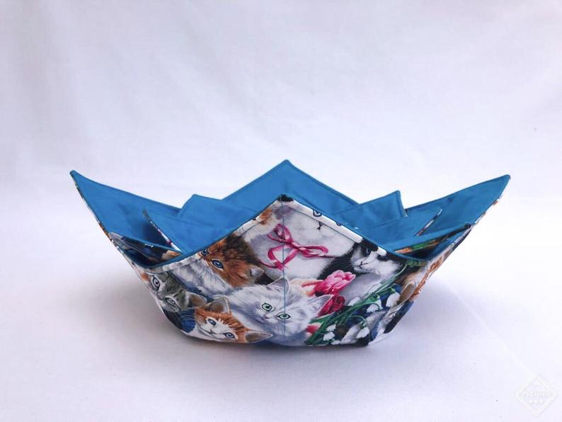 Microwave Bowl Cozy - Cat printed, blue