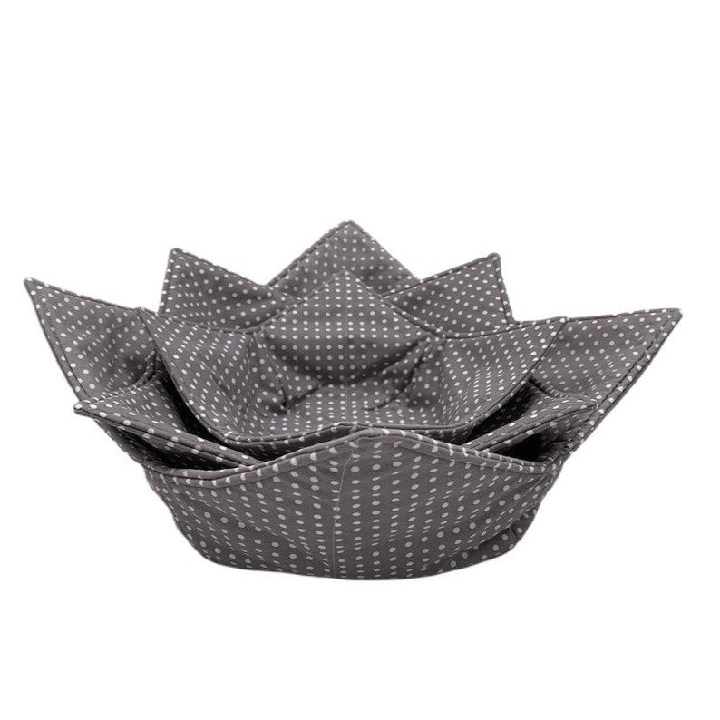 Dotted Gray Microwave Bowl Cozy
