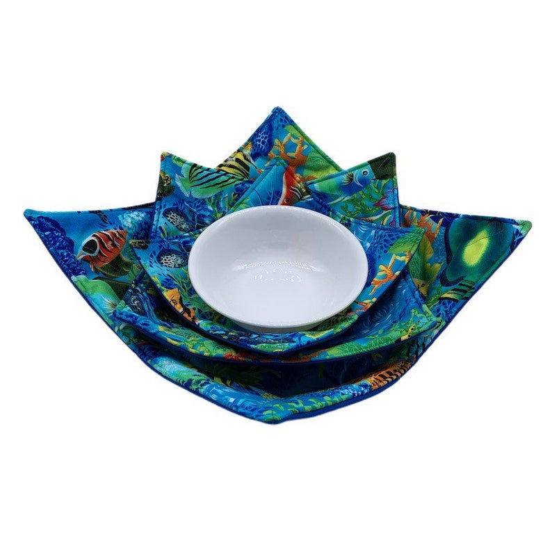 Microwave Bowl Cozy - Fish printed, blue, colorful