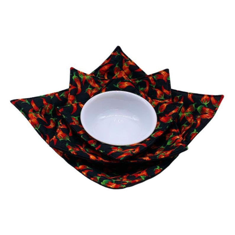 Microwave Bowl Cozy - Chili pepper, red&black