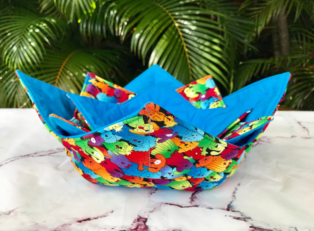 Microwave Bowl Cozy - Dog Printed, Rainbow