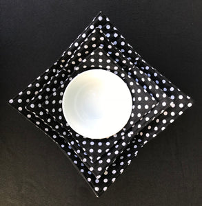 Microwave Bowl Cozy black&white polka dot