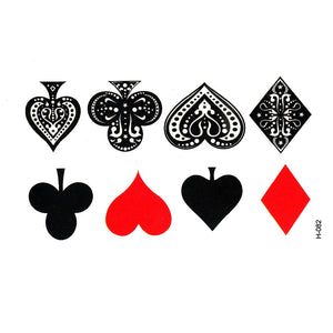Poker Playing Cards Magic Temporary Tattoos