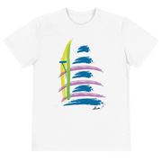 White short sleeve unisex eco tee shirt with original design.
