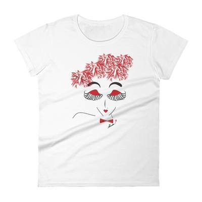 White T-Shirt classic fit short sleeve with woman design and fluttering eyelashes.